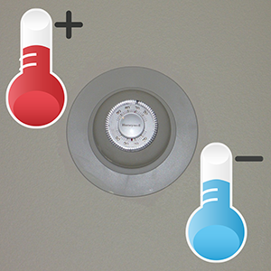 thermostat with hot and cold thermometers